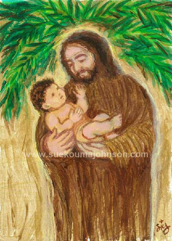 Joseph and the Child Jesus Art Print