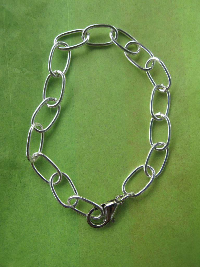 Shiny Silver Elongated Chain Bracelet