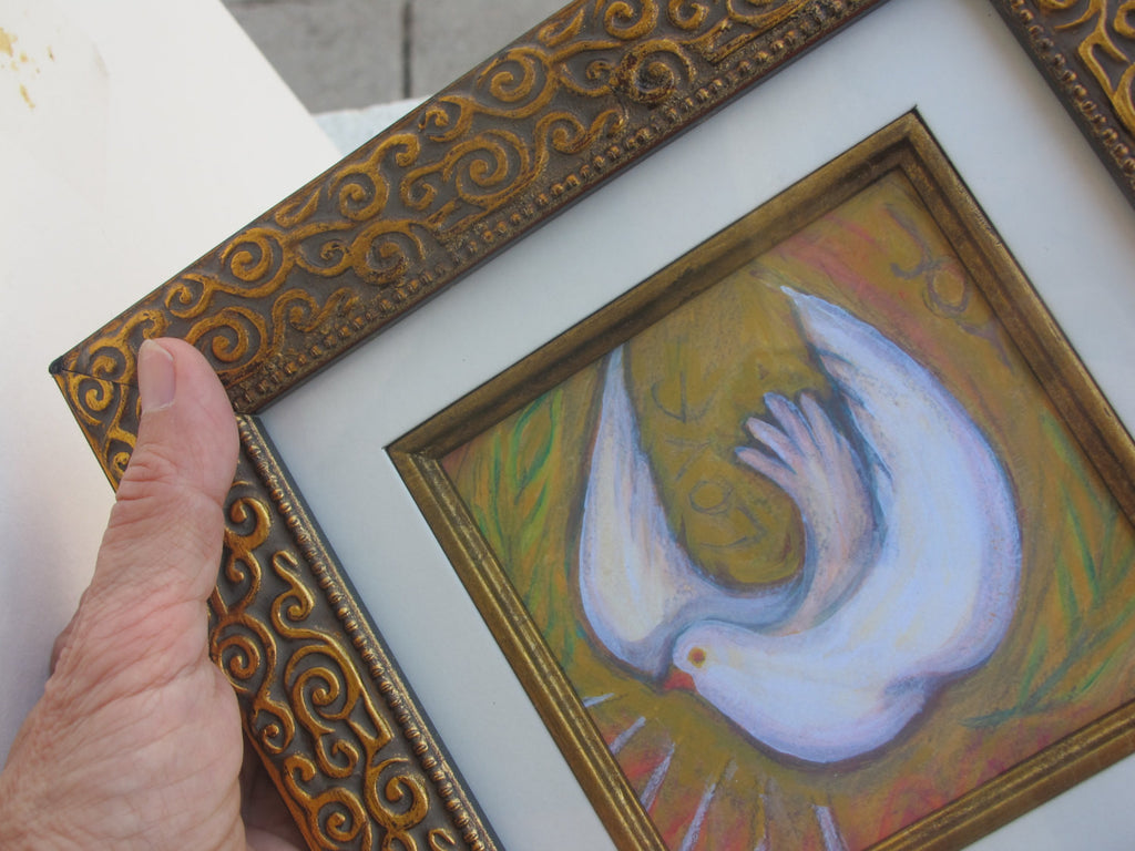 Holy Spirit Dove Print in Gold Frame