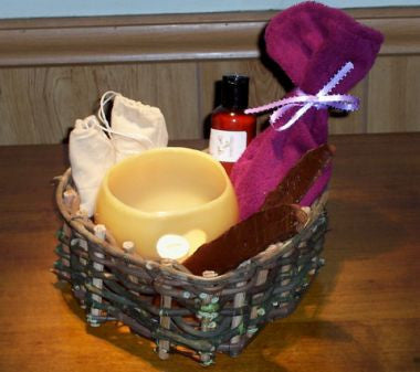 Pretty in Plum with Lavender Lace Ribbon Herbal Bath Bag