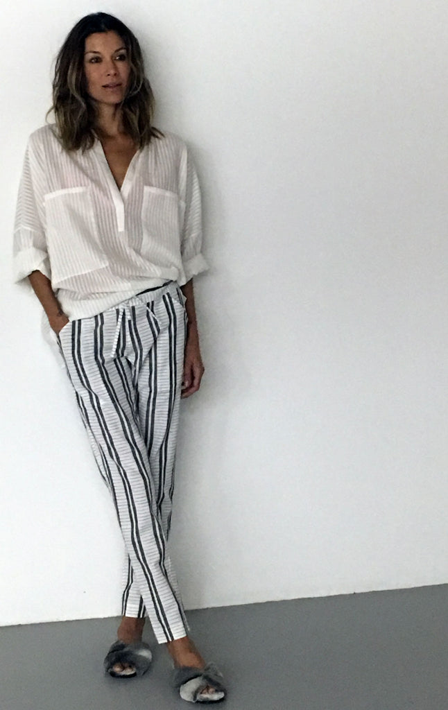 white with blue stripe pants