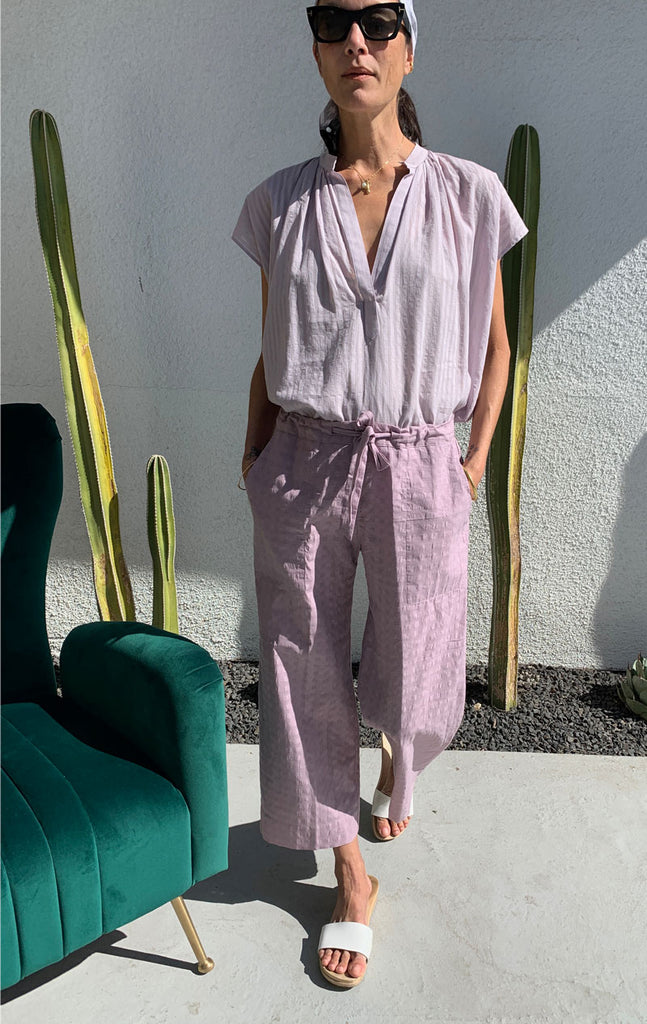 Mauve cotton wide leg pant