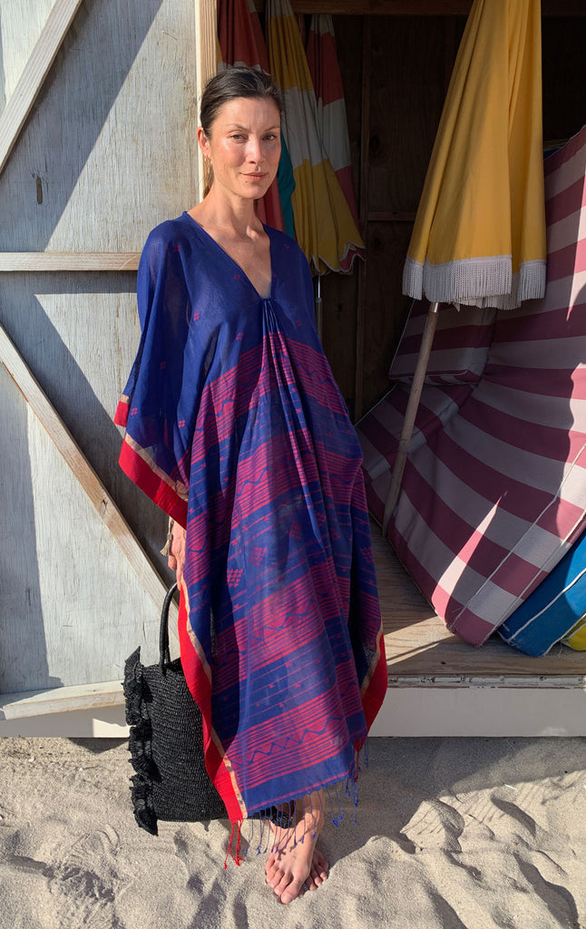 Blue Caftan with Red woven details