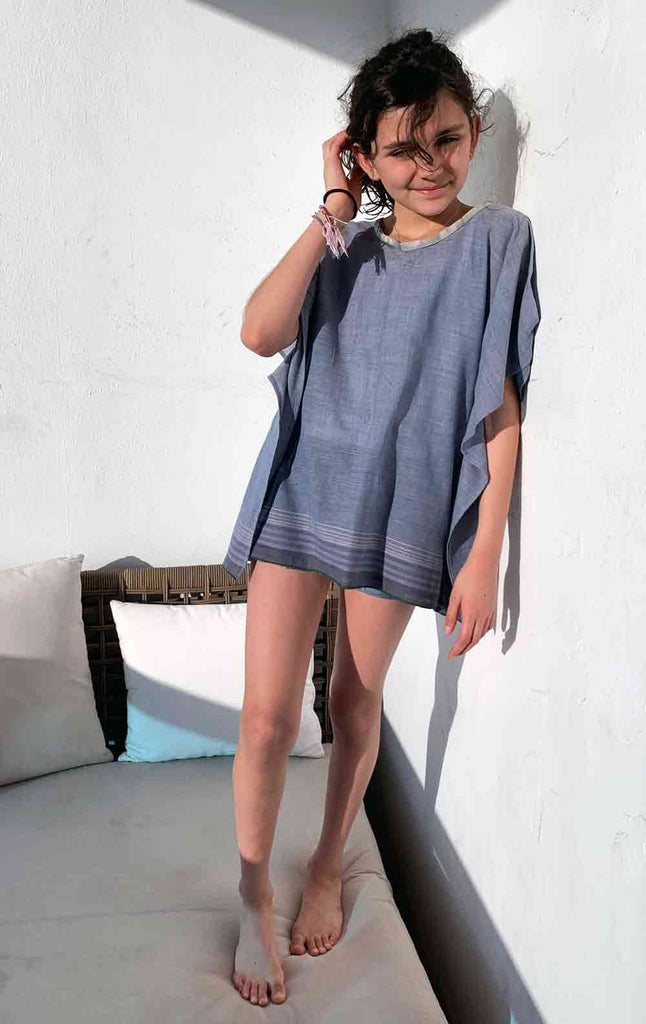 Kids grey blue caftan