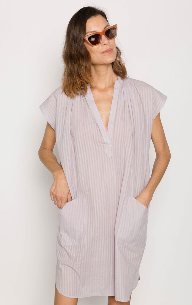 Lavender Khadi stripe Pocket Tunic