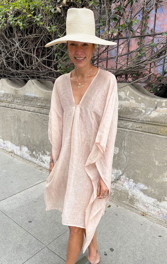 Short Linen rose caftan