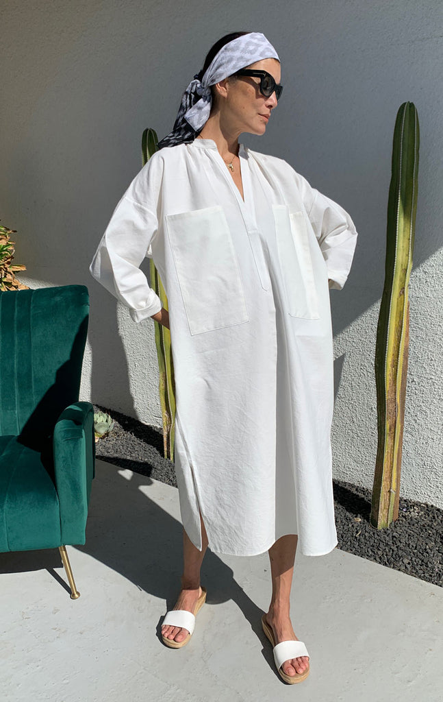White Khadi Two Pocket caftan-few left