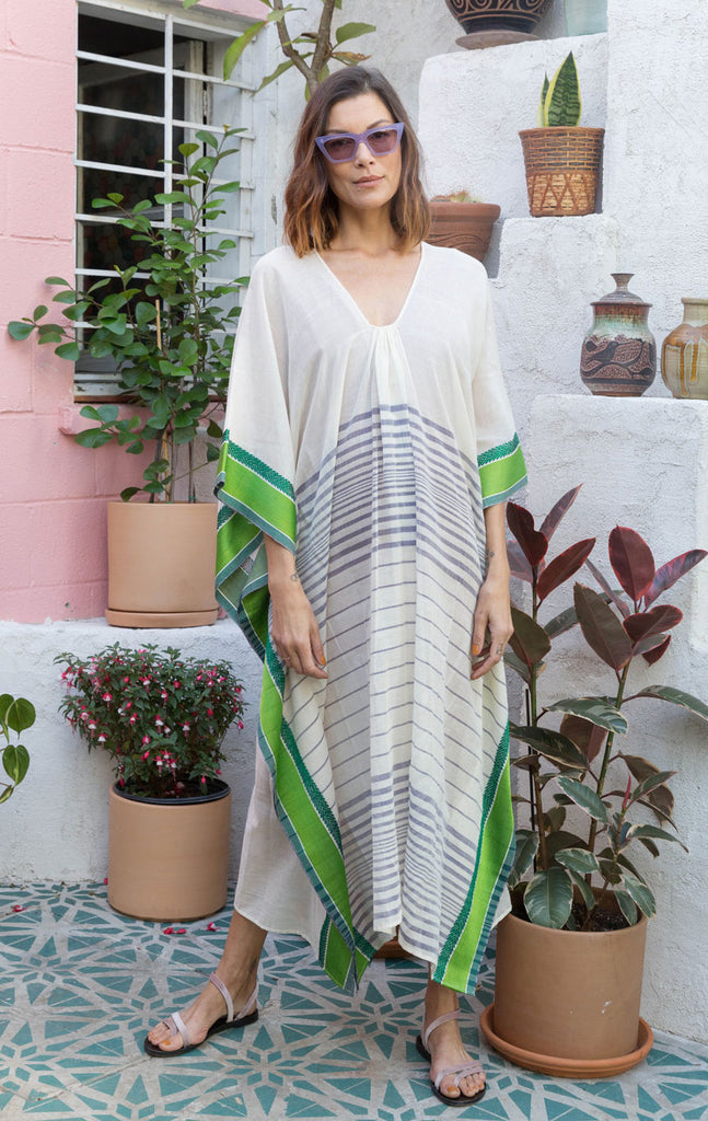 White stripe caftan with green trim