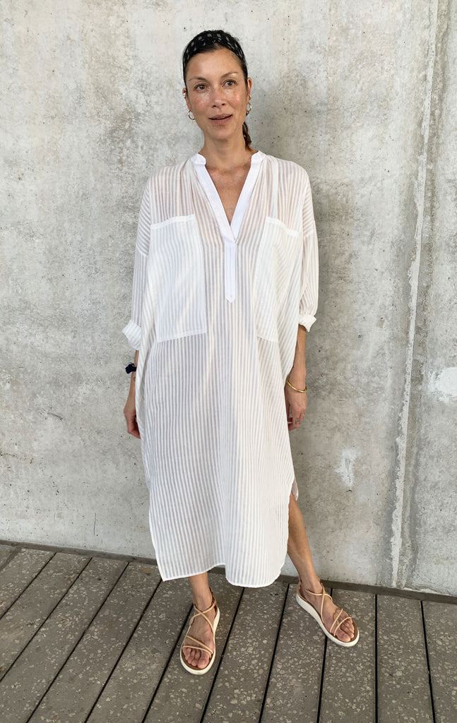 White Khadi Two Pocket caftan-A few more just in!