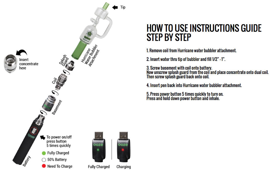 Ooze Hurricane Water Bubbler Vaporizer Instructions