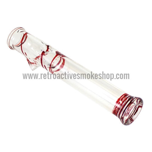 Glowfly Glass Steamroller - Clear/Red - Retro Active Smoke Shop