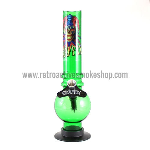 "Graffix 10"" Bubble Skinny Acrylic Waterpipe - Green - Retro Active Smoke Shop"