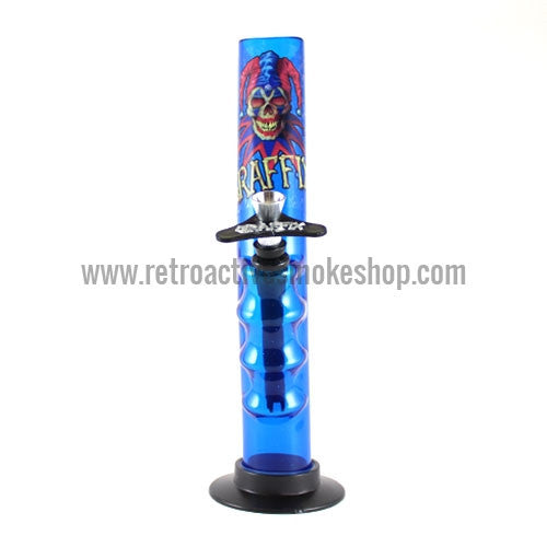 "Graffix 10"" Gripper Skinny Acrylic Waterpipe - Blue - Retro Active Smoke Shop"