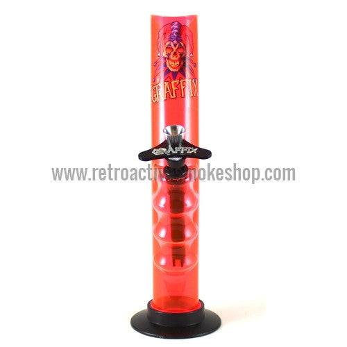"Graffix 10"" Gripper Skinny Acrylic Waterpipe - Orange - Retro Active Smoke Shop"