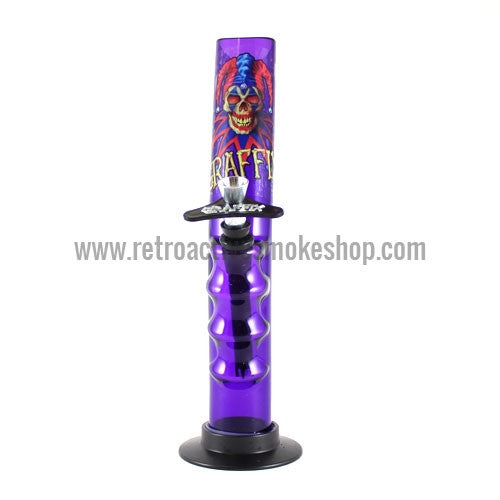 "Graffix 10"" Gripper Skinny Acrylic Waterpipe - Purple - Retro Active Smoke Shop"
