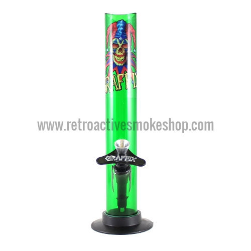 "Graffix 10"" Straight Skinny Acrylic Waterpipe - Green - Retro Active Smoke Shop"