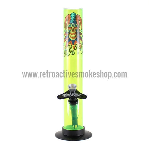 "Graffix 10"" Straight Skinny Acrylic Waterpipe - Yellow - Retro Active Smoke Shop"