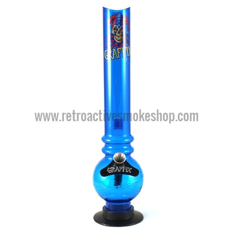 "Graffix 12"" Bubble Skinny Acrylic Waterpipe - Blue - Retro Active Smoke Shop"