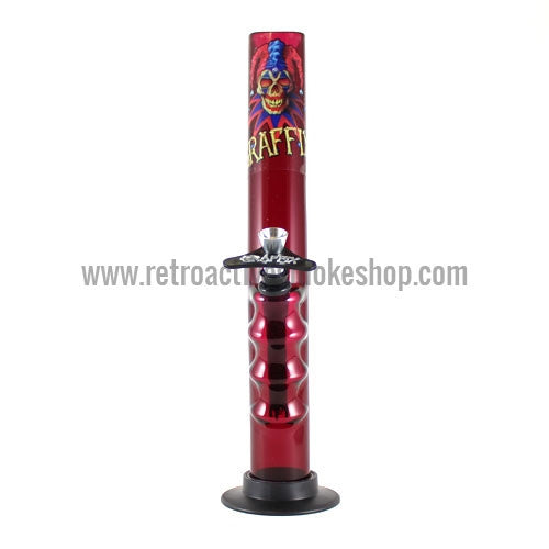 "Graffix 12"" Gripper Skinny Acrylic Waterpipe - Red - Retro Active Smoke Shop"