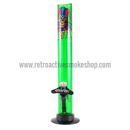 "Graffix 12"" Straight Skinny Acrylic Waterpipe - Green - Retro Active Smoke Shop"