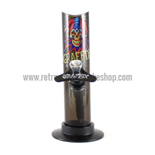"Graffix 6"" Straight Skinny Acrylic Waterpipe - Black - Retro Active Smoke Shop"