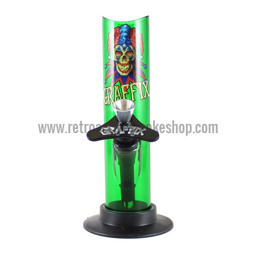 "Graffix 6"" Straight Skinny Acrylic Waterpipe - Green - Retro Active Smoke Shop"