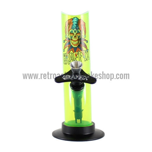 "Graffix 6"" Straight Skinny Acrylic Waterpipe - Yellow - Retro Active Smoke Shop"