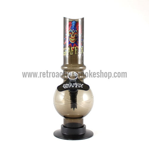 "Graffix 8"" Bubble Skinny Acrylic Waterpipe - Black - Retro Active Smoke Shop"