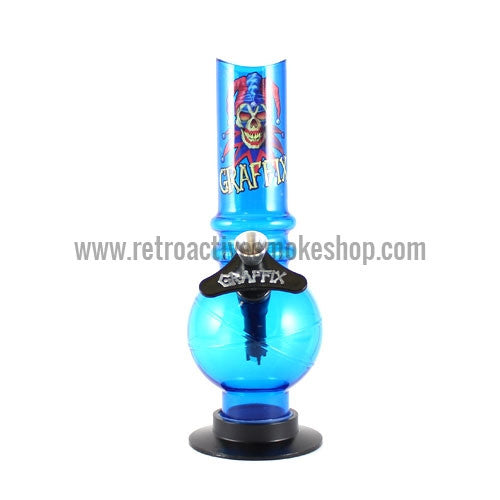 "Graffix 8"" Bubble Skinny Acrylic Waterpipe - Blue - Retro Active Smoke Shop"