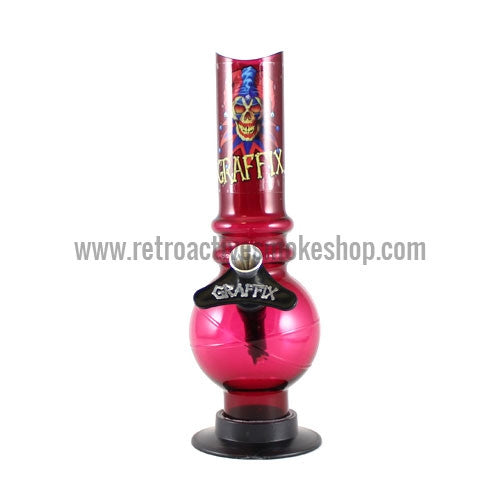 "Graffix 8"" Bubble Skinny Acrylic Waterpipe - Red - Retro Active Smoke Shop"