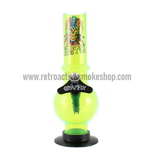 "Graffix 8"" Bubble Skinny Acrylic Waterpipe - Yellow - Retro Active Smoke Shop"