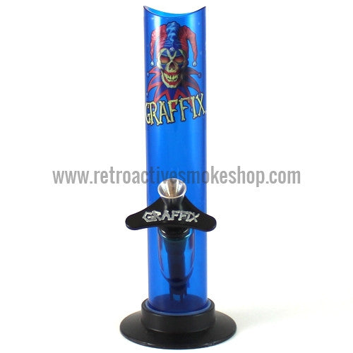"Graffix 8"" Straight Skinny Acrylic Waterpipe - Blue - Retro Active Smoke Shop"