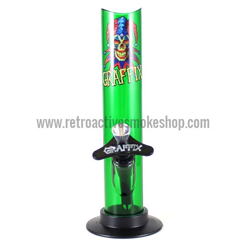 "Graffix 8"" Straight Skinny Acrylic Waterpipe - Green - Retro Active Smoke Shop"