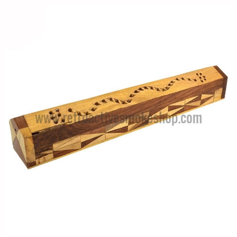 "RASS 11"" Two-Toned Carved Wood Incense Box - Retro Active Smoke Shop"