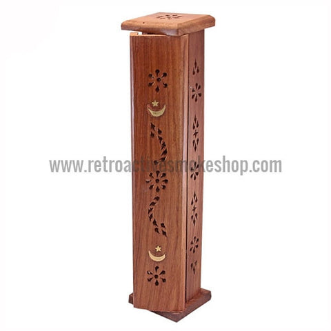 "RASS 12"" Moon & Star Wood Incense Burner Tower - Retro Active Smoke Shop"