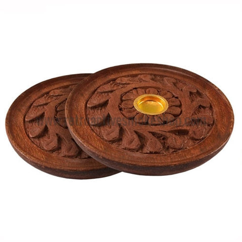 "RASS 4"" Round Carved Wood Incense Burner - Retro Active Smoke Shop"