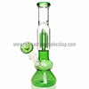 Sabertooth Glass Green/Clear Single Perk Waterpipe - Retro Active Smoke Shop  - 1