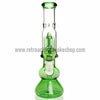 Sabertooth Glass Green/Clear Single Perk Waterpipe - Retro Active Smoke Shop  - 2
