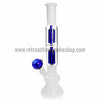 Sabertooth Glass White/Blue Double Perk Waterpipe - Retro Active Smoke Shop  - 1