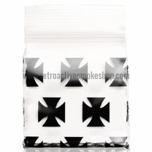 Apple Bags 1010 Ziplock Baggies (100 Pack) - Black Cross - Retro Active Smoke Shop