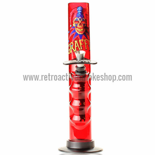 "Graffix 10"" Gripper Skinny Acrylic Waterpipe - Red - Retro Active Smoke Shop  - 1"