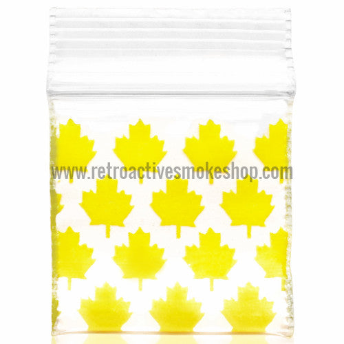 Apple Bags 1010 Ziplock Baggies (100 Pack) - Yellow Leaf - Retro Active Smoke Shop