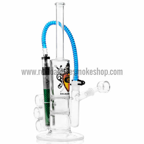 [product type] - (CLEARANCE) OTG Glassblowers Large E-Bubbler Rig with Double Honeycomb - Retro Active Smoke Shop