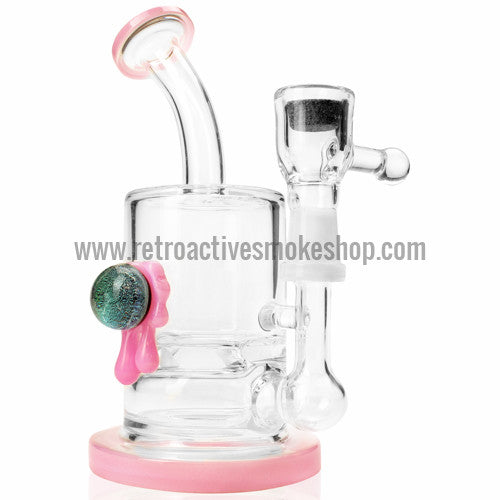 ATX Glassworks Slant Back Turbine Vapor Stone Rig with Dichro Marble - Pink - Retro Active Smoke Shop  - 1