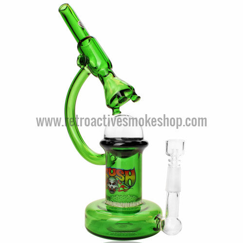 The Crush Glass Microscope Oil Rig with Honeycomb Perc - Green - Retro Active Smoke Shop  - 1