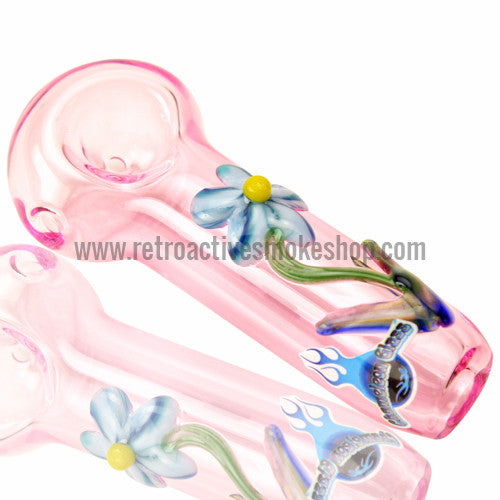 Chameleon Glass Daisy Hand Pipe - Pink - Retro Active Smoke Shop  - 1