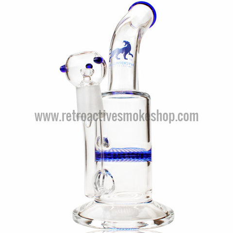 "Sabertooth 9"" Honeycomb Bent Disk Oiler - Blue - Retro Active Smoke Shop  - 1"
