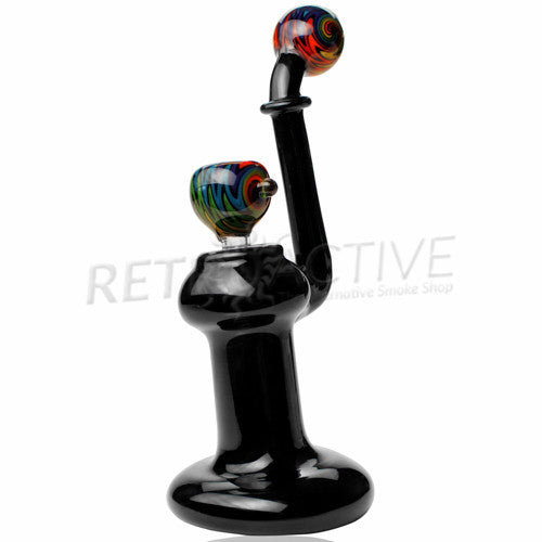 [product type] - (CLEARANCE) No Stress Glass Sherlock Bubbler w/ Slide - Rainbow - Retro Active Smoke Shop