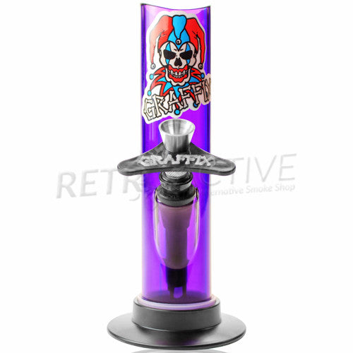 "Graffix 6"" Straight Skinny Acrylic Waterpipe - Purple - Retro Active Smoke Shop"