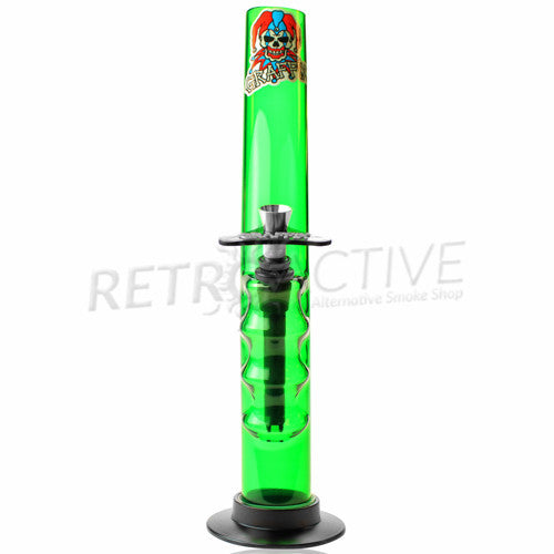 "Graffix 12"" Gripper Skinny Acrylic Waterpipe - Green - Retro Active Smoke Shop"